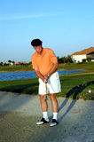 Senior golfer sand trap Royalty Free Stock Photo