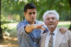 Senior grandfather and grandson Royalty Free Stock Images