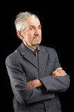 Senior in a grey suit Royalty Free Stock Images