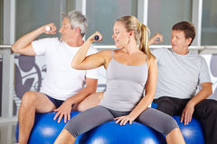 Senior group doing dumbbell Royalty Free Stock Photo