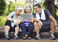 Senior Group Friends Exercise Relax Concept royalty free stock photography