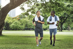 Senior Group Friends Exercise Relax Concept. Senior Group Friends Running Exercise Concept royalty free stock image
