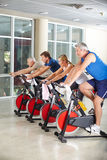 Senior group in spinning class Stock Image