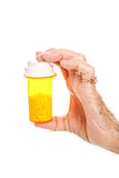 Senior Hand with Pill Bottle Royalty Free Stock Images