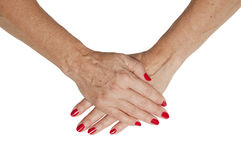 Isolated Senior Hands Stock Images