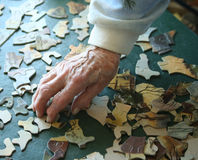 Senior hands buidling puzzle Stock Images