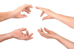 Senior hands show hold fingers gesture. Four senior hands show hold fingers gesture, isolated Stock Image