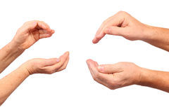 Senior hands show hold inside gesture. Isolated Stock Photos