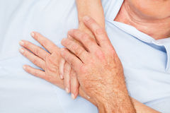 Senior hands touching each other Royalty Free Stock Photos