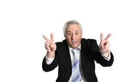 Senior with hands up Stock Image