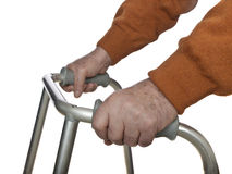 Senior hands on walker Royalty Free Stock Photo