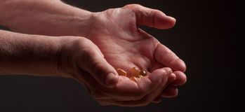 Senior hands who keeps drugs Royalty Free Stock Images