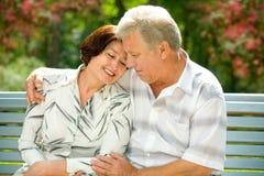 Senior happy couple in park Royalty Free Stock Photo