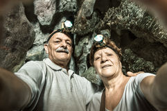 Senior happy couple taking a selfie at Tham Phum Cave in Laos Stock Photography