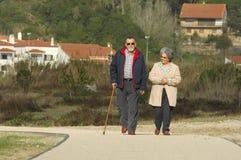 Senior happy couple walking Royalty Free Stock Image