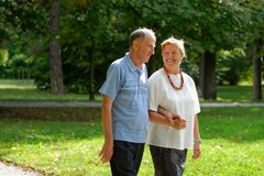 Senior happy couple walking stock photo