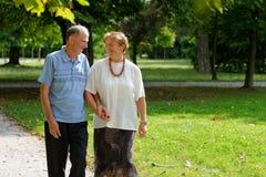 Senior happy couple walking Royalty Free Stock Photo