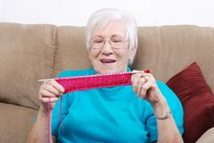 Senior Happy With Her Knitting Royalty Free Stock Image