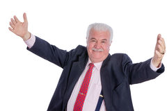 Senior happy man with wide open arms Royalty Free Stock Photos