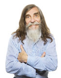 Senior happy smiling. Old man long gray hair beard Royalty Free Stock Photos