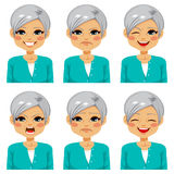 Senior Happy Woman Face Expressions Stock Images