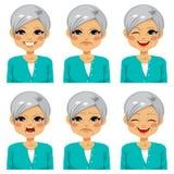 Senior Happy Woman Face Expressions. Senior adult happy woman making six different face expressions set Stock Images