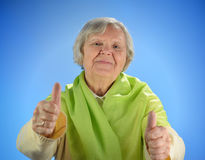 Senior happy woman with grey hairs. Stock Photo