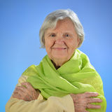 Senior happy woman with grey hairs. Stock Photos