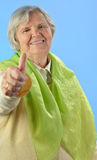 Senior happy woman with grey hairs. Royalty Free Stock Photo
