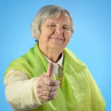 Senior happy woman with grey hairs. Royalty Free Stock Images