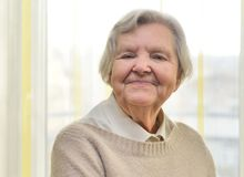 Senior happy woman in her home. Royalty Free Stock Photos