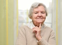 Senior happy woman in her home. Stock Photos