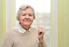 Senior happy woman in her home. Stock Images
