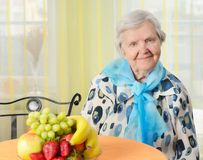 Senior happy woman in her home. Stock Photo