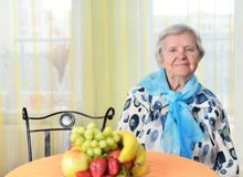 Senior happy woman in her home. Royalty Free Stock Photography