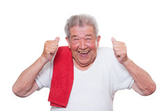 Senior has a lot of fun Stock Image