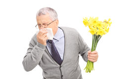 Senior having an allergic reaction to flowers stock photography