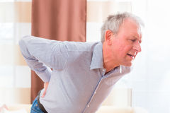 Senior having back pain at home Stock Photography