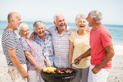 Senior having a barbecue on the beach Royalty Free Stock Photography