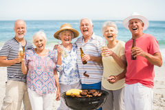 Senior having a barbecue on the beach Royalty Free Stock Image