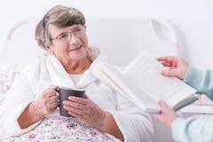 Senior having private carer stock photography