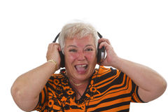 Senior with headphone Royalty Free Stock Images