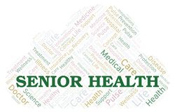 Senior Health word cloud. Wordcloud made with text only royalty free illustration