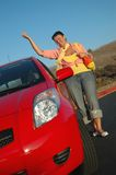 Senior with her car Royalty Free Stock Images