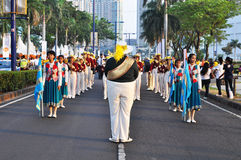 Senior high school marching band in action Royalty Free Stock Photos