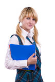 Senior high schoolgirl in uniform with files Stock Photography