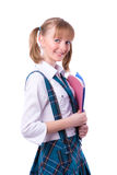 Senior high schoolgirl in uniform with files Royalty Free Stock Photos
