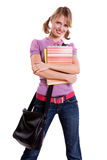 Senior high schoolgirl in uniform with files Stock Image