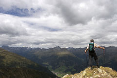 Senior hiker enjoying beautiful landscape of the A Royalty Free Stock Photography