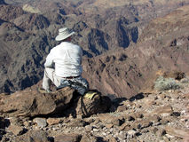 Senior hiker enjoying view above Colorado River (Arizona Side) Stock Photos